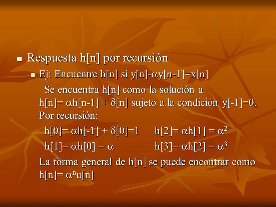 Respuesta h[n] por recursión